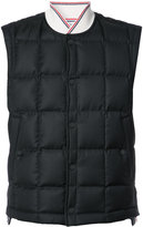 Thom Browne Downfilled Button Front Vest In Black Super 130's Wool Twill