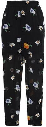 Ganni Dainty Floral-print Georgette Tapered Pants