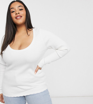 Fashion Union Plus scoop neck jumper in lightweight knit