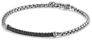 David Yurman Petite Pave Bar Bracelet With Black Diamonds, 3Mm