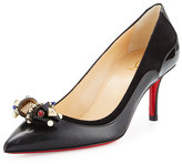 Christian Louboutin Tudorchic Jeweled-Bow 70mm Red Sole Pump, Black
