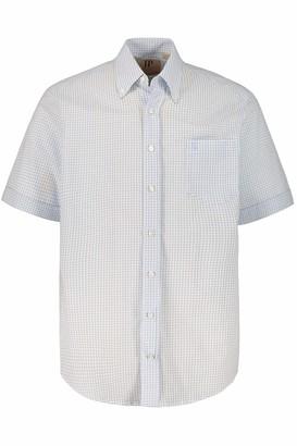 JP 1880 Men's Big & Tall Check Seersucker Button Down Collar Shirt Light Blue Multi XXXXXX-Large 720070 71-6XL