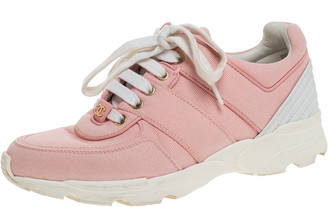 Chanel Pink Canvas And White Leather CC Lace Up Sneakers Size 36