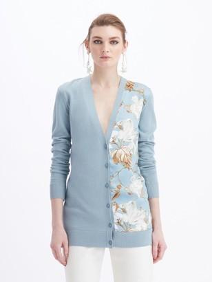 Oscar de la Renta Floral V-Neck Knit Cardigan