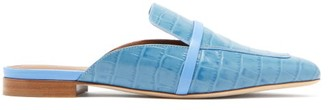 Malone Souliers Jada Crocodile-embossed Backless Leather Loafers - Womens - Blue
