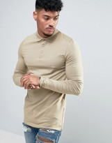 Asos Longline Muscle Long Sleeve Polo And Side Zips In Beige