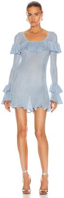 Self-Portrait Lurex Knit Tunic in Light Blue   FWRD