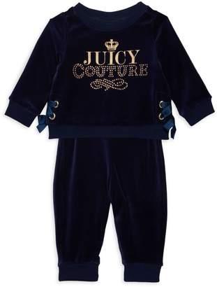 Juicy Couture Girl's 2-Piece Velour Sweatshirt & Pants Set