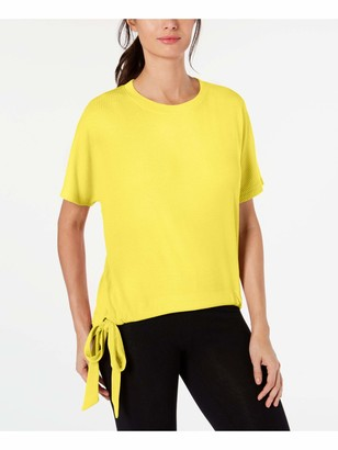 Ideology Womens Yellow Tie Patterned Short Sleeve V Neck T-Shirt Top Size: M
