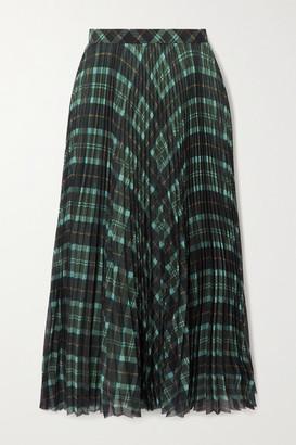 Dries Van Noten Pleated Checked Crepe Midi Skirt - Green