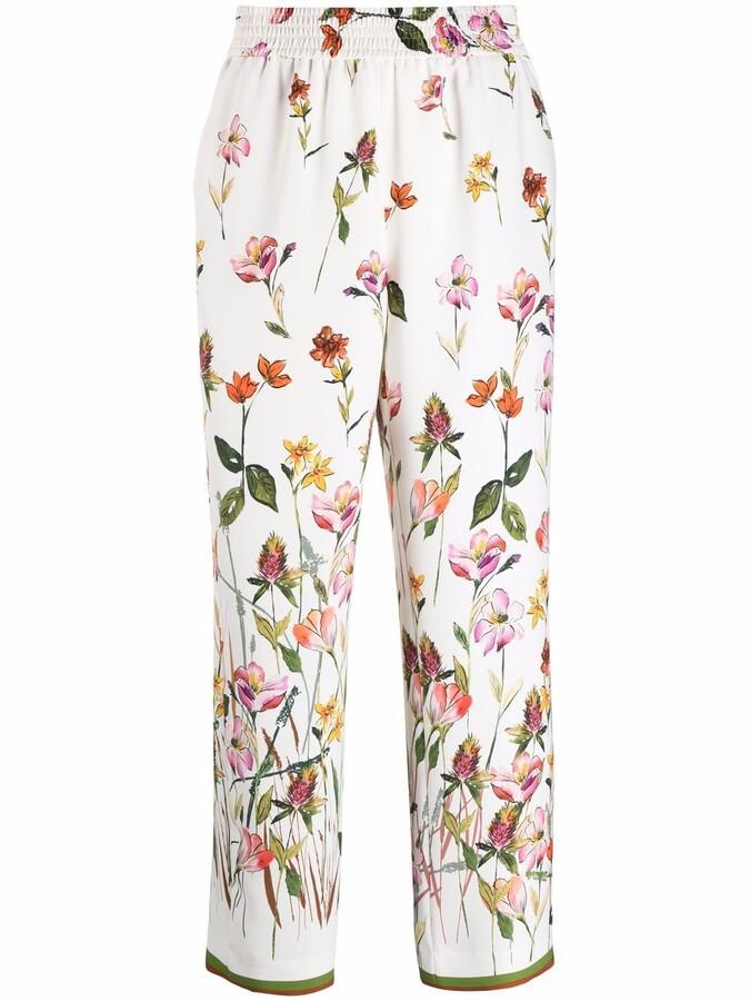 Pt01 Floral-Print Wide-Leg Trousers