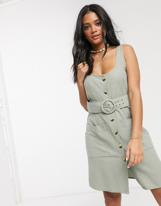 ASOS DESIGN button through linen mini sundress with self covered belt in khaki
