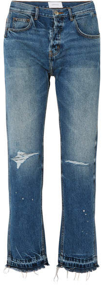 Current/Elliott The Throwback Original Distressed High-rise Straight-leg Jeans - Mid denim