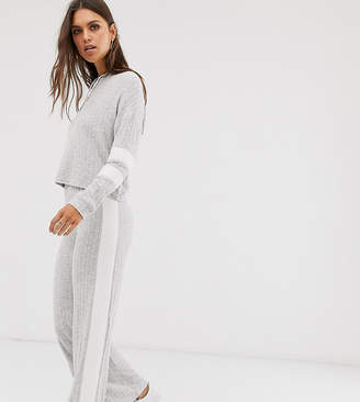 Micha Lounge wide leg trousers in rib co-ord-Grey