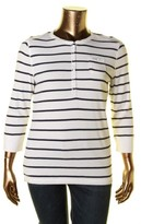 Lauren Ralph Lauren LRL Womens Striped Signature Henley Top