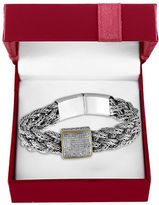 Effy 0.039 TCW Diamond and 18K Yellow Gold and Sterling Silver Braided Bracelet