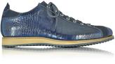 Forzieri Italian Handcrafted Indigo Blue Suede & Croco Print Leather Sneaker