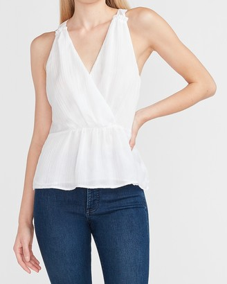 Express Pleated Wrap Front Peplum Tank