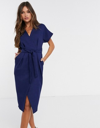 Closet London wrap tie midi dress in navy