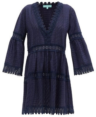 Melissa Odabash Victoria V-neck Broderie-anglaise Cotton Dress - Navy