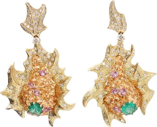 Arunashi Emerald And Diamond Fish Earrings