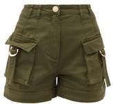 Balmain High-rise Cotton-blend Cargo Shorts - Womens - Khaki