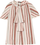 Raoul Raffaella pussy-bow striped silk crepe de chine top