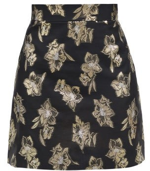 The Vampire's Wife The Nearly Nuthin' Floral-brocade Mini Skirt - Black Gold