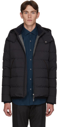 Ermenegildo Zegna Navy Down Hooded Puffer Jacket