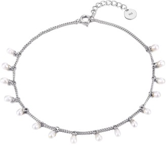 Seol + Gold Sterling Silver Pearl Bead Charm Anklet