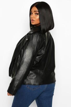 boohoo Plus Faux Leather Zip Biker Jacket