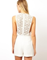 Asos Playsuit With Lace Back - White