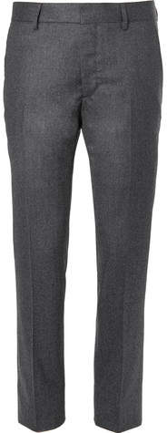 Caruso Charcoal Slim-Fit Mélange Wool Trousers