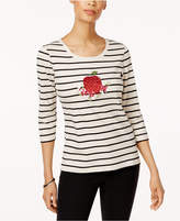 Karen Scott Cotton Striped Graphic T-Shirt, Created for Macy's