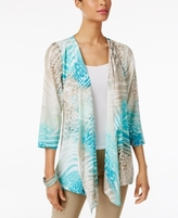 JM Collection Petite Printed Draped-Front Completer Cardigan, Created for Macy's