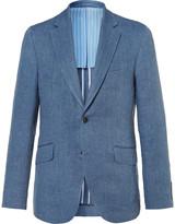Hackett - Blue Delave Slim-fit Herringbone Linen Blazer