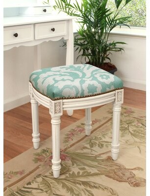Rosecliff Heights Alameda Jacobean Linen Upholstered Vanity Stool Color: Aqua