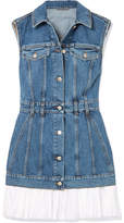 Alexander McQueen Cotton Poplin-trimmed Denim Mini Dress - Blue