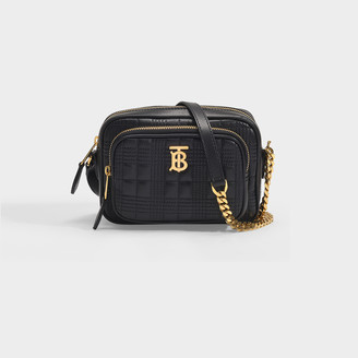 Burberry Small Camera Bag In Black Quilted Lamb Leather