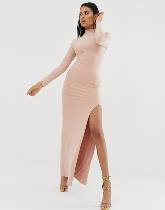 Club L London high neck long sleeve maxi dress with high thigh split in pink