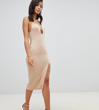 Asos Tall DESIGN Tall deep v bar midi bodycon dress with thigh split in rib jersey-Beige