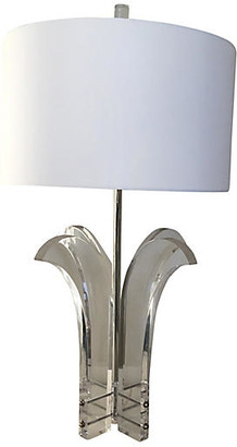 One Kings Lane Vintage Lucite Palm Lamp & Shade - C the Light Interiors