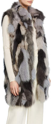 Pologeorgis Long Patchwork Fur Vest