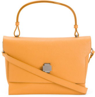 Made In Italy Leather Flap Over Satchel With Turn Lock