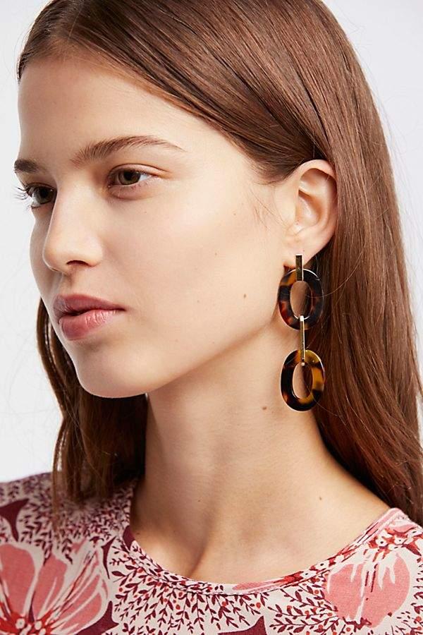 A.V. Max Resin Link Drop Hoop Earrings