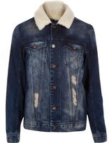River Island Dark Washed Borg Collar Denim Jacket