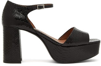 Tabitha Simmons Patton Python-effect Leather Platform Sandals - Black