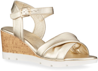 Sesto Meucci Mason Metallic Cork Wedge Comfort Sandals