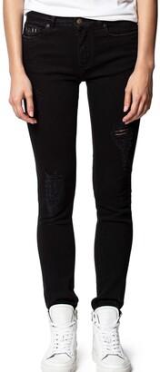 Zadig & Voltaire Eva Grunge Distressed Straight Jeans