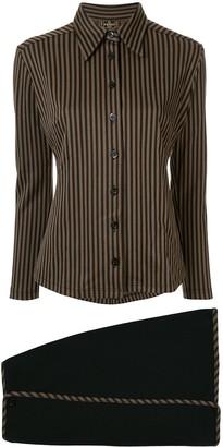Fendi Pre Owned Striped Shirt And Envelope Skirt Set